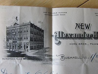 1922 New Alexander Hotel In Bushnell Ill Letter & Envelope , Train Stamped
