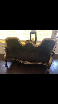 Mahogany  French Rococo Antique Gold BrownOrnate Sofa Chaise Longue Lounge