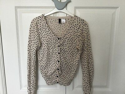 Ladies natural and black spotty cardigan H&M size 6 NEW!