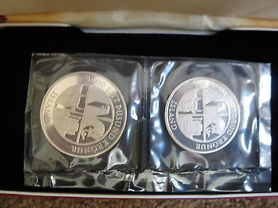 1974 Iceland Settlement 2 Coin Silver Proof Set