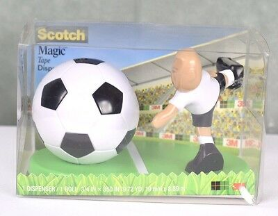 """New Scotch Magic Tape Dispenser Soccer Ball and Player with 350"""" Tape Roll NIB"""