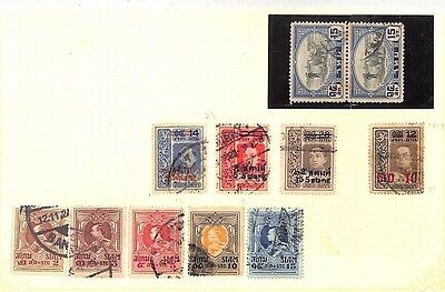 SA1235 THAILAND SIAM Overprints Original Album page from old-time collection