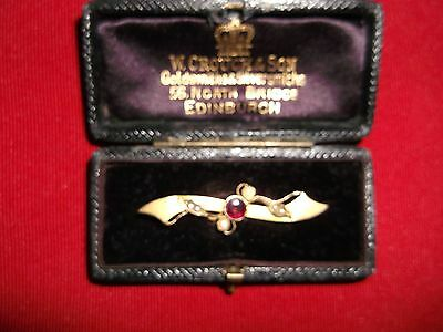 Lovely 9Ct Gold Bar Brooch With Amethyst & Pearls Dated 1942 Vgc
