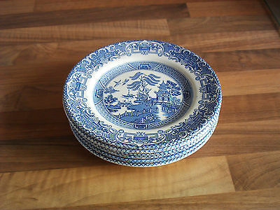 Staffordshire 6 side plates ironstone tableware willow pattern