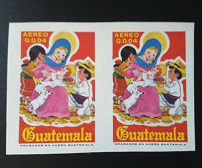 Guatemala 1977 stamp error, imperforate pair. Christmas. Scott 631a.
