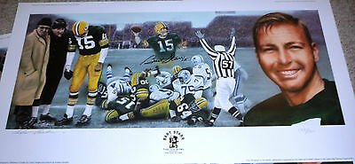 Green Bay Packer Bart Starr Autographed Goralski Ice Bowl Tristar Lithograph Coa