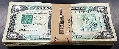 1989 Liberia Five Dollars paper notes, 100 pieces! P-19, circulated.