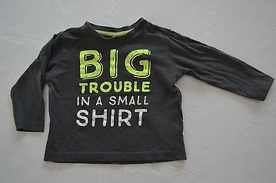 "T-shirt longues manches ""Big trouble in a small shirt"" - taille 80 cm"