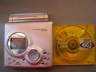 Sharp MD Portable Minidisc Recorder Player MD-MT 88 Silver Good Working Conditio