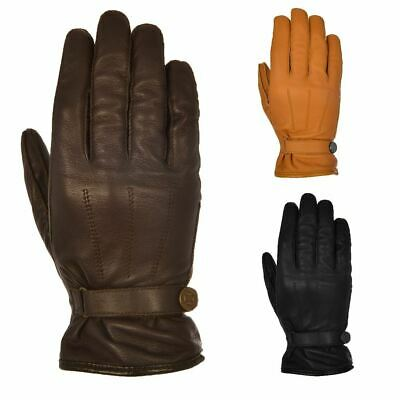 Oxford Holton Mens Short Leather Motorcycle Touring Gloves Cruiser Cafe Racer
