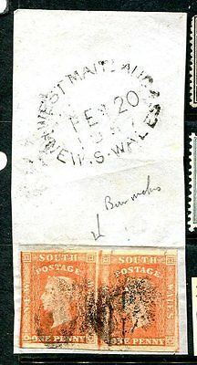 Australia  New South Wales  #32a  PAIR ON PIECE  cat $45+