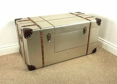 Extra Large Aviator Vintage / Retro Style Metal & Wood Trunk- COFFEE TABLE CHEST
