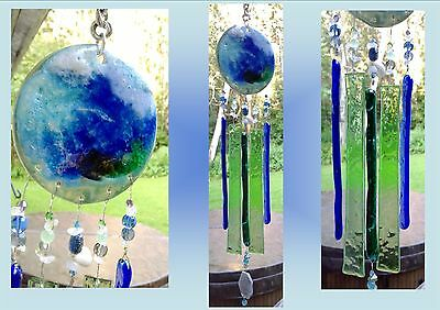 Turquoise Sea Glass Wind Chime Ocean Wave Ceramic Pottery Suncatcher Labradorite
