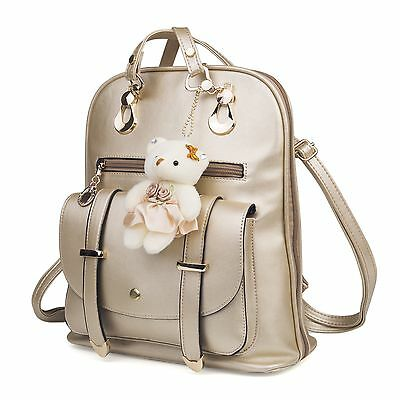 Golden Fashion Women PU Leather Backpack Rucksack Zipper School Shoulder Bags US