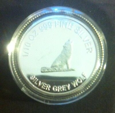 """Silver Grey Wolf"" 1/10th OZ 99.9% Solid Silver Bullion Coin (Gr8 Investment)"