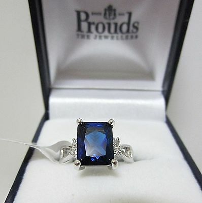 CREATED BLUE SAPPHIRE & WHITE TOPAZ  925 SOLID STERLING SILVER RING Size Q / 8