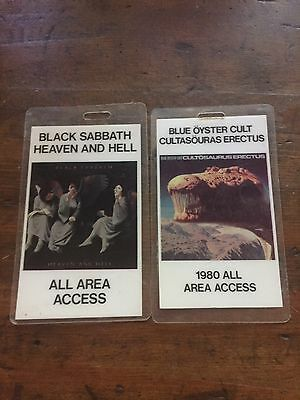1980 Black Sabbath Blue Oyster Cult Laminate Pass Set Heaven And Hell