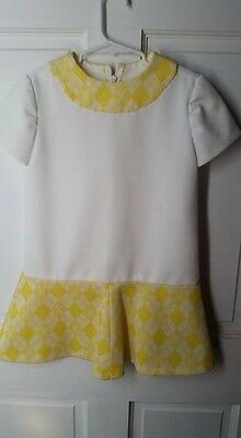 Vintage Handmade Little Girls Dress Yellow and White