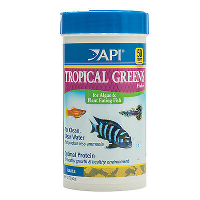 API Tropical Greens Flakes 60g Fish Food for Algae Eaters Guppies Mollies & More
