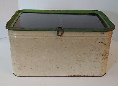 Antique Transparent Clear Top Avocado Green Off White Hinged Tin Metal Bread Box