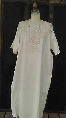 c1930  Handmade Nightgown with Lace Trim, off white Color