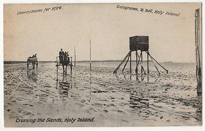 CROSSING THE SANDS, HOLY ISLAND ~ AN OLD POSTCARD 7a16
