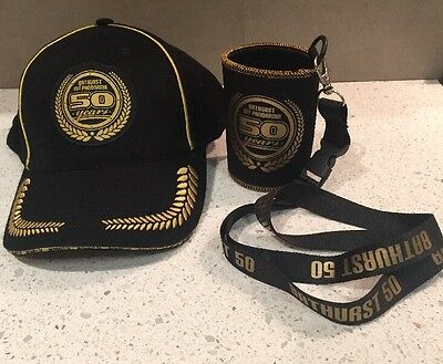 V8Supercars Holden Ford Bathurst 50Yrs Anniversary Cap Hat & Stubby With Lanyard