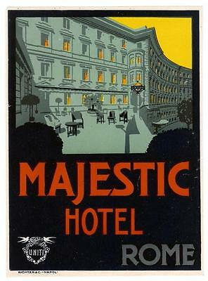 HOTEL MAJESTIC FLORENCE Italy LARGE Vintage Travel Luggage Label by A. Molitor