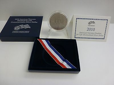2010-W American Veterans Disabled For Life Uncirculated Silver Dollar