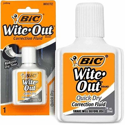 Bic Wite Out Quick Dry Correction Fluid with Foam Brush Applicator, White