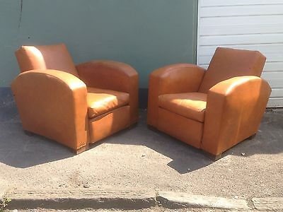 A Pair Of 1940s Jacques Adnet French Art Deco Club Chairs