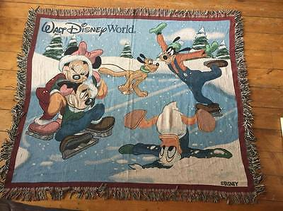 Disney Tapestry Throw Blanket Mickey and Friends Winter Scene Walt Disney World