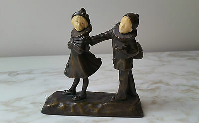 Antique Peter Tereszczuk Bronze Pierrot & Columbine Austria Art Nouveau