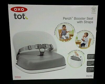 OXO Tot Perch Folding Booster Seat Gray Removable Straps for Big Kids Grey BL22