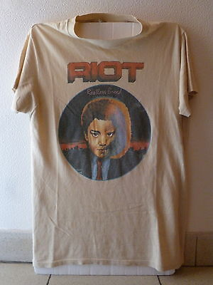 "RIOT ""Restless Breed"" 1982/83 world tour t.shirt-M-ultra RARE! American Metal"