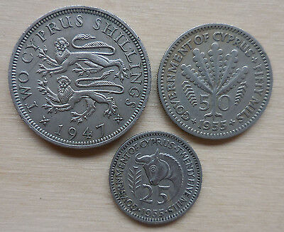 Cyprus Two Shillings 1947, 50 Mils 1955 & 25 Mils 1955