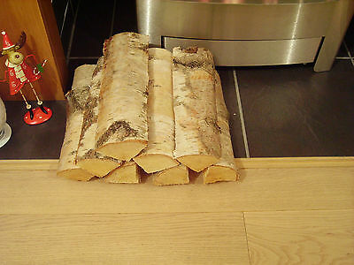 Decorative Display Logs Natural Silver Birch Bark logs for fireplace x 8 (split)