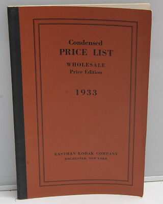 Kodak 1933 Condensed Wholesale Price List Book - Original VINTAGE B132