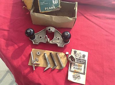 Vintage Stanley UK No 71 Router Plane Complete Very Good Condition in Tatty Box.