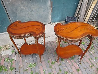 Vintage Pair of French Style Carved Inlaid Top End Tables