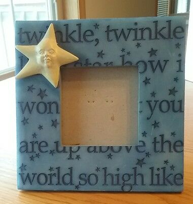 """Frame Celestial Twinkle Little Star Blue with Yellow Face Star 6.25"""" square"""
