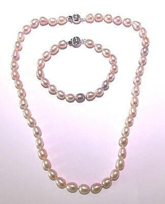 Freshwater Pearl Necklet & Bracelet Suite. Pink Oval Pearls with Sterling Silver