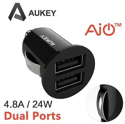 Aukey Smallest Dual USB Car Charger for Apple and Android devices 4.8A/24W Black