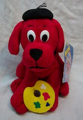 "Scholastic CLIFFORD THE BIG RED DOG AS ARTIST 5"" Bean Bag STUFFED ANIMAL Toy NEW"