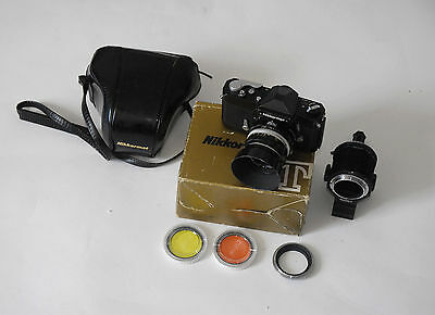 Nikon Nikkormat Ftn Black 35 Mm Camera With Nikkor H 50 Mm In  Box And Extras