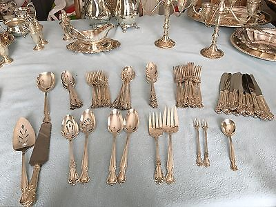 12 Place Silver Plated Vintage Roger Bros Cutlery Set, 85 Pieces