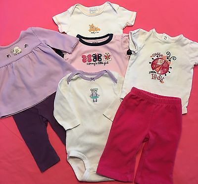 Lot of 7 Baby Girl Spring Summer Clothes Size 0 - 3  Months