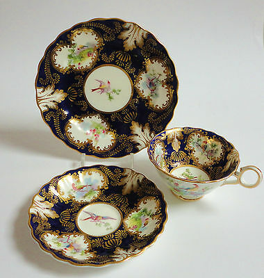 Antique Tea cup Saucer Tea plate Trio English Vintage China Crescent Birds Blue