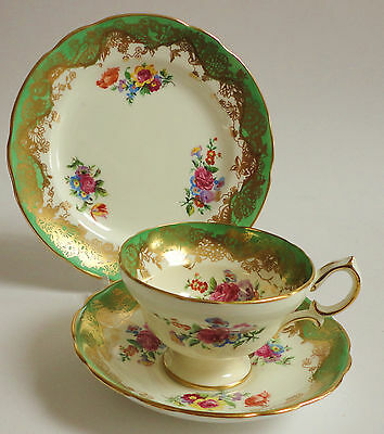Hammersley Tea cup Saucer Tea Plate Trio Flowers Green Gold  English china