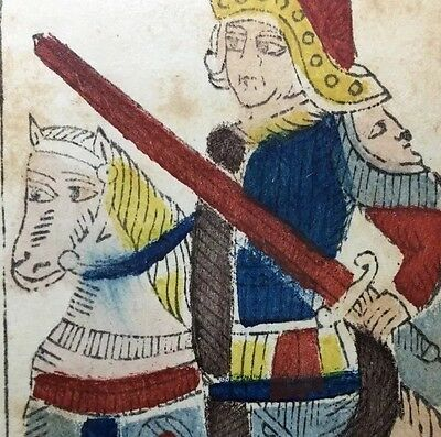 c1780 Knight of Swords Marseilles Painted Tarot Playing Cards Historic Single